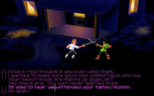 The Secret of Monkey Island found a creative and hilarious way to incorporate combat without breaking game's thoughtful pacing.